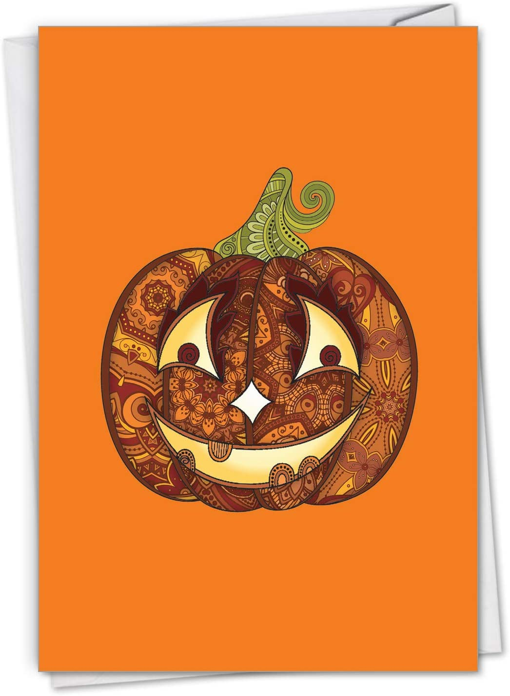 The Best Card Company Artful Pumpkins - Halloween Greeting Card with Envelope (4.63 x 6.75 Inch) - Featuring an Ornate Orange Spooky Design C2922CHWG