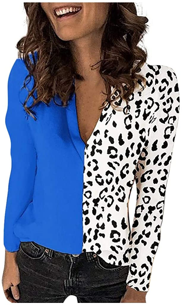 Fesfes Long Sleeve Tops for Women Sexy Elegant Blouse 2020 Athletic Casual Trendy Leopard Patchwork V Neck Shirts Plus Size