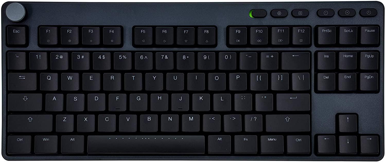 iKBC Typemaster X400 White Backlit LED Mechanical Keyboard with Cherry MX Low Profile Red Switch for Windows/Mac (Tenkeyless Keyboards, Dark Gray Case, Black ABS 87 Keycaps, ANSI/US QWERTY)