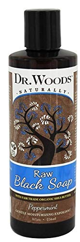 Dr. Woods Raw Moisturizing Black Peppermint Soap with Organic Shea Butter, 8 Ounce