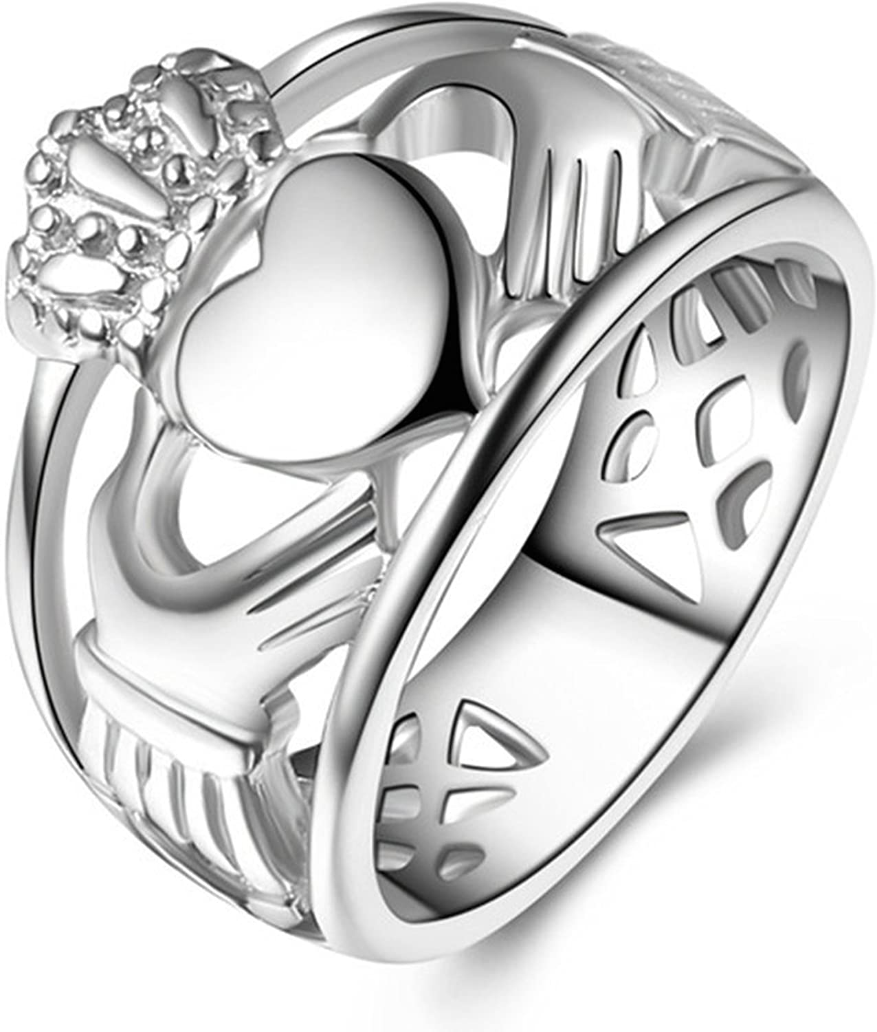 LineAve Stainless Steel Irish Claddagh Friendship Love Ring, for Men or Women