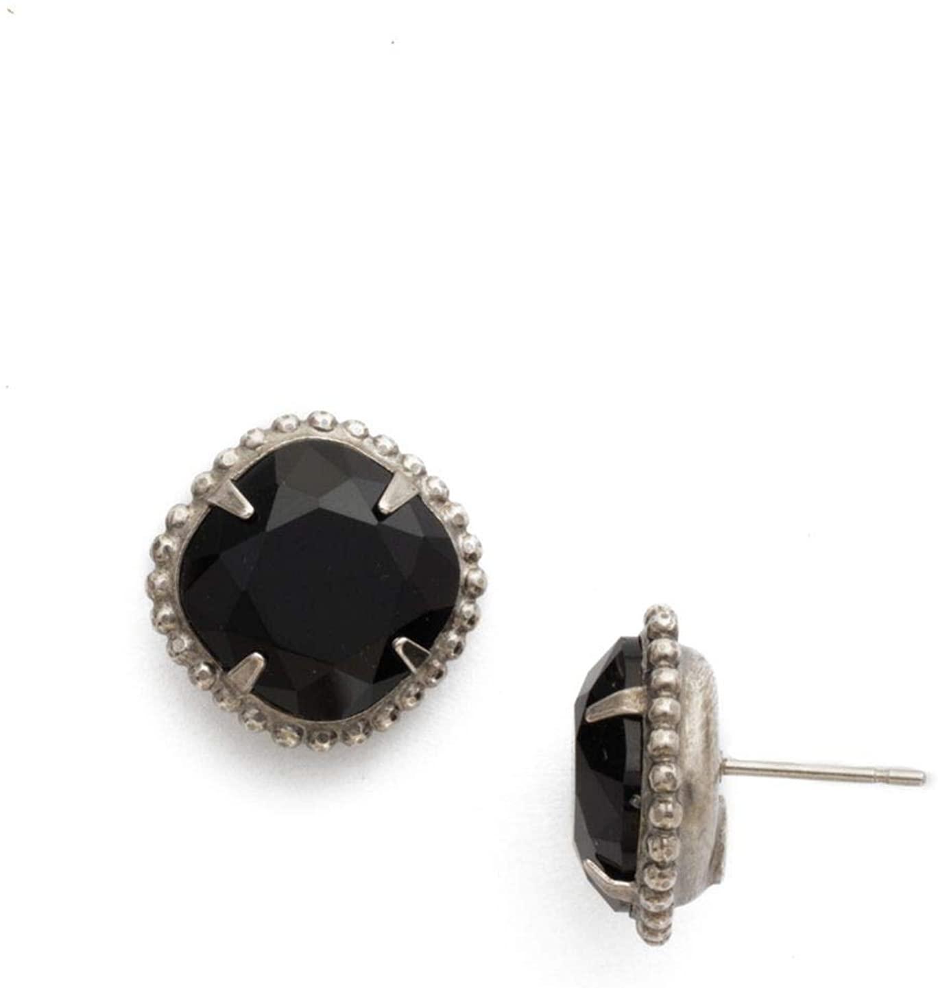 Sorrelli Essentials Cushion-Cut Solitaire Stud Earrings, Antique Silver Finish, Jet