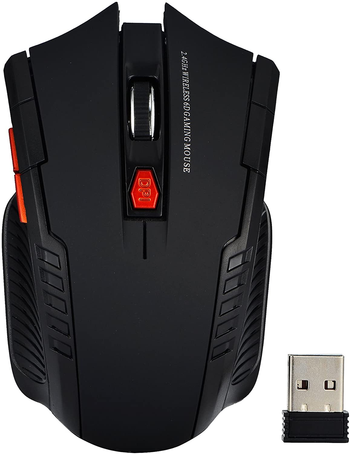 Optimal Shop 2.4G Portable Optical Wireless Mouse with USB Receiver for Notebook,PC,Laptop,Computer,3 Adjustable DPI Levels 800/1200/1600 and Side Controls (Black)