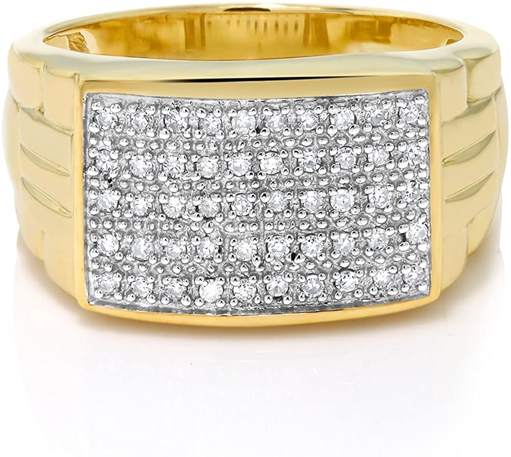 Gem Stone King Men's 10K Yellow Gold White Diamond Pave Ring (0.25 Cttw, Available 5,6, 7,8,9,10,11,12,13)