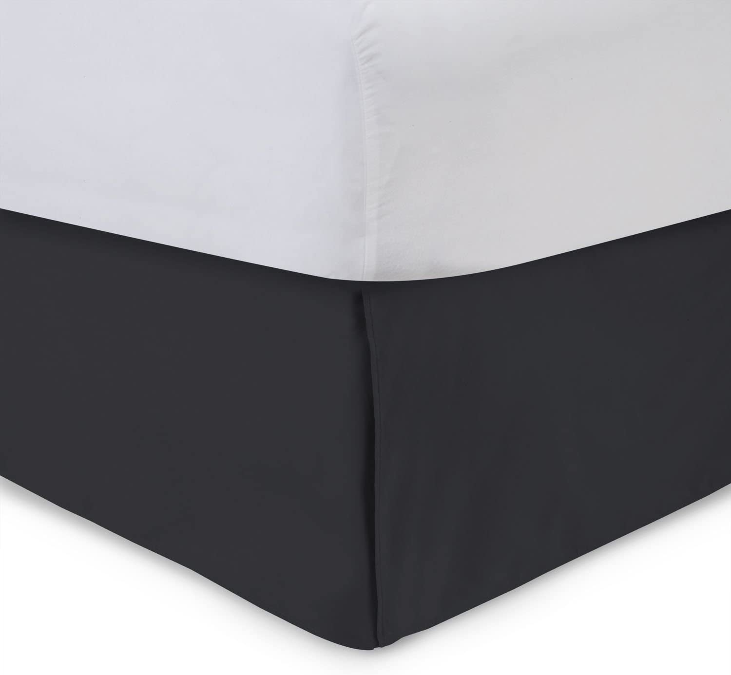 ShopBedding Harmony Lane Tailored Bedskirt - 14 inch Drop, Twin XL, Black Bed Skirt with Split Corners (Available in and 16 Colors)