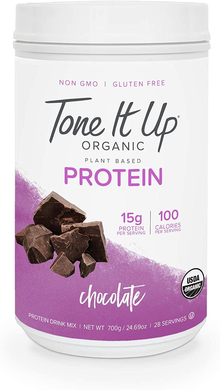 Tone It Up Organic Vegan Chocolate Protein Powder for Women   100% Pea Protein Sugar Free Gluten Free   15g of Protein   Kosher Non GMO   1.54lbs