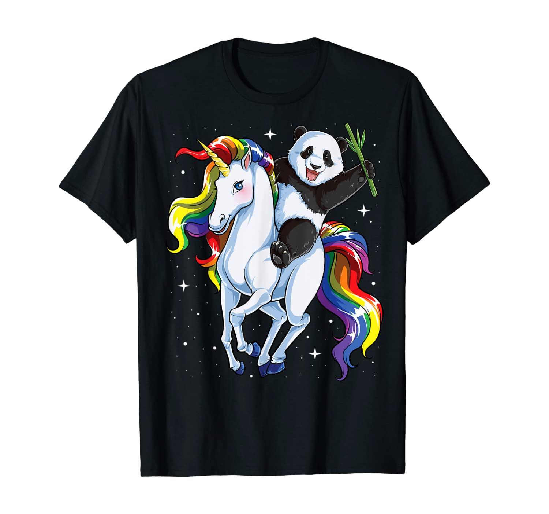 Panda Riding Unicorn Pandicorn Girls Kids Women Rainbow Gift T-Shirt