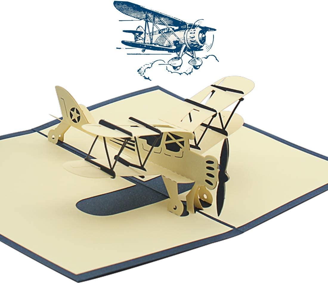 Blue plane 3D Pop Up Children's Birthday Cards for Kids