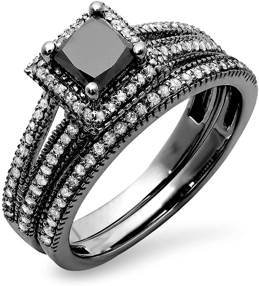Dazzlingrock Collection 1.35 Carat (ctw) Black Rhodium Plated 14K Princess & Round Diamond Halo Engagement Ring Set, White Gold