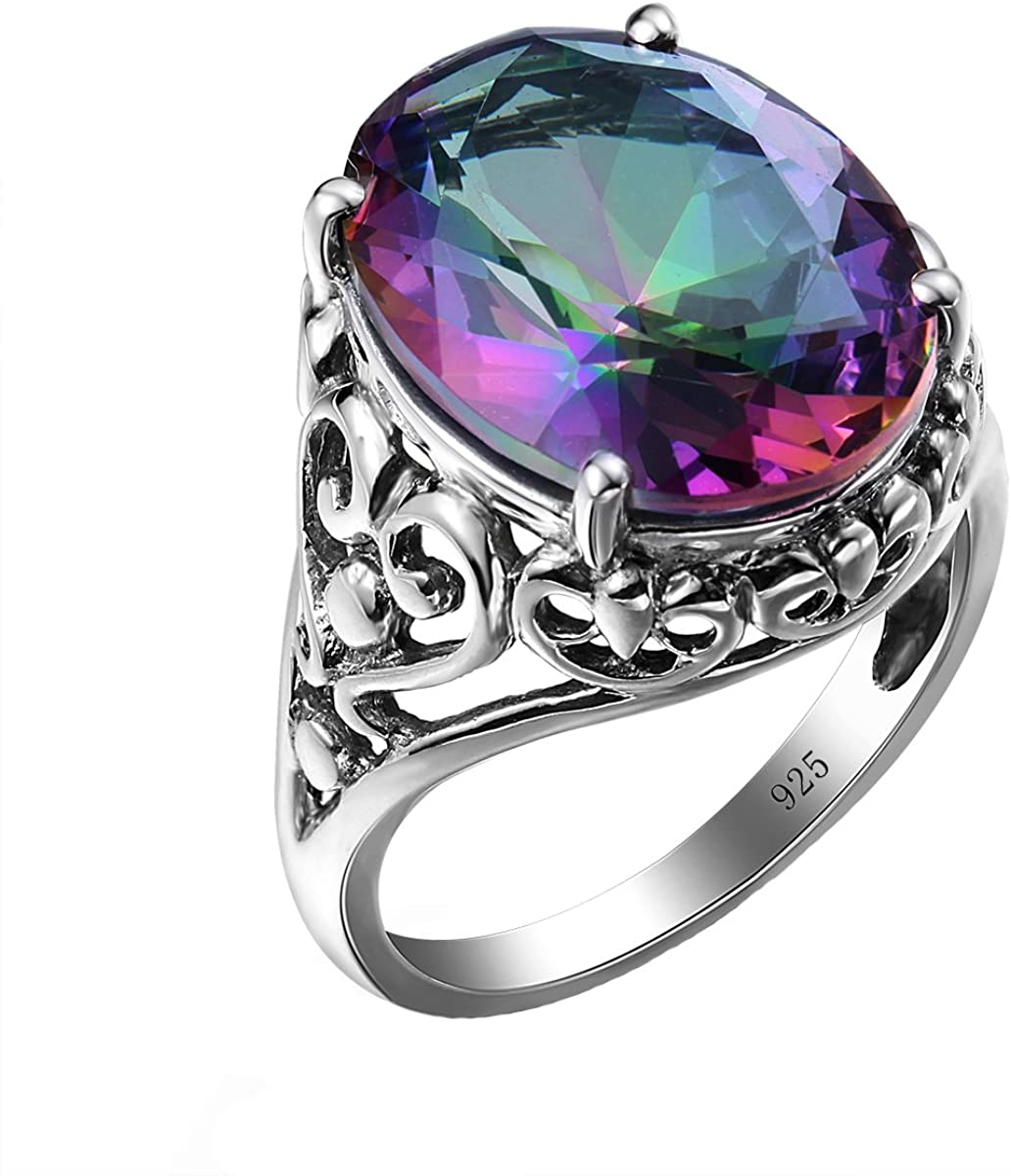 SzjinAo Vintage Antique Design Ring Round Mystic Fire Rainbow Topaz Stone for Women's Men 's Promise Engagement 925 Sterling Silver Rings
