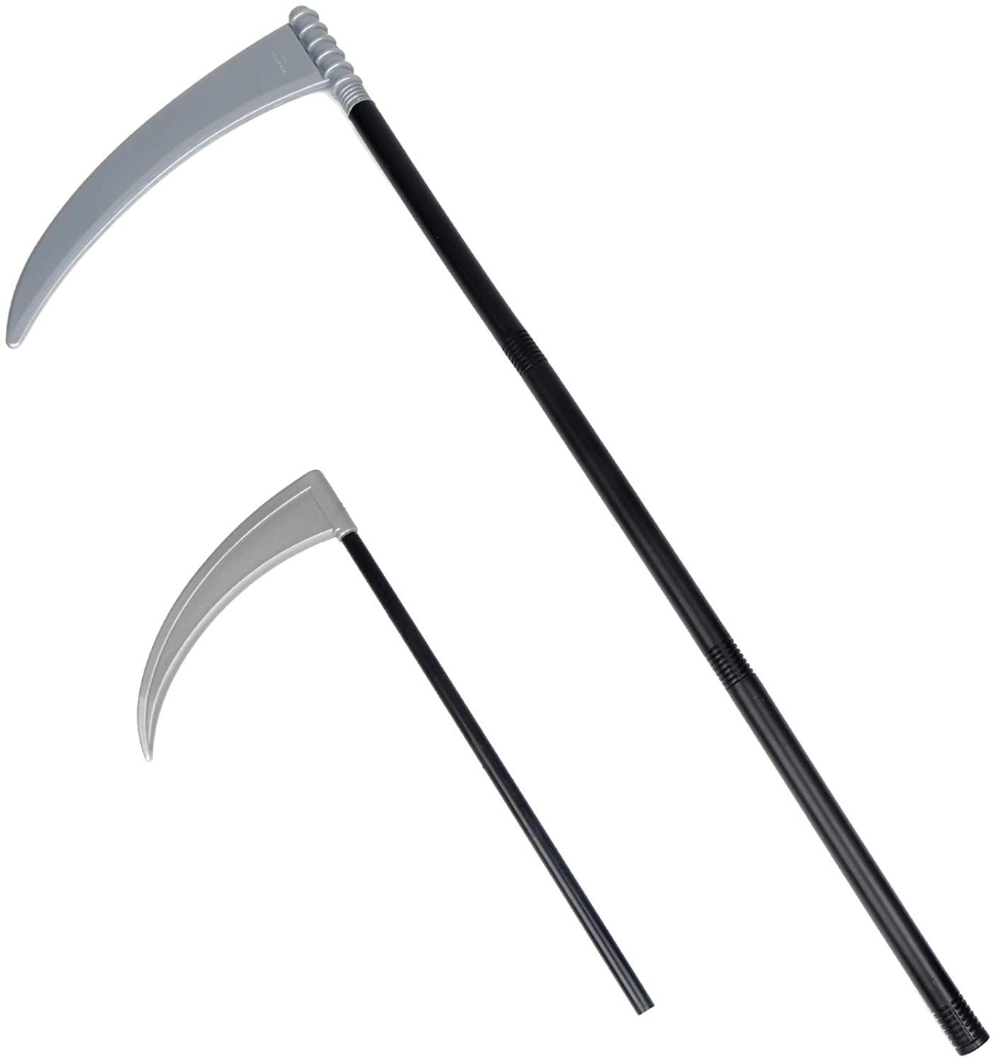 DIYASY 2 Pack Grim Reaper Scythe,Tall and Short Plastic Scythe Weapon for Kids and Adult Halloween Death Costume Accessories