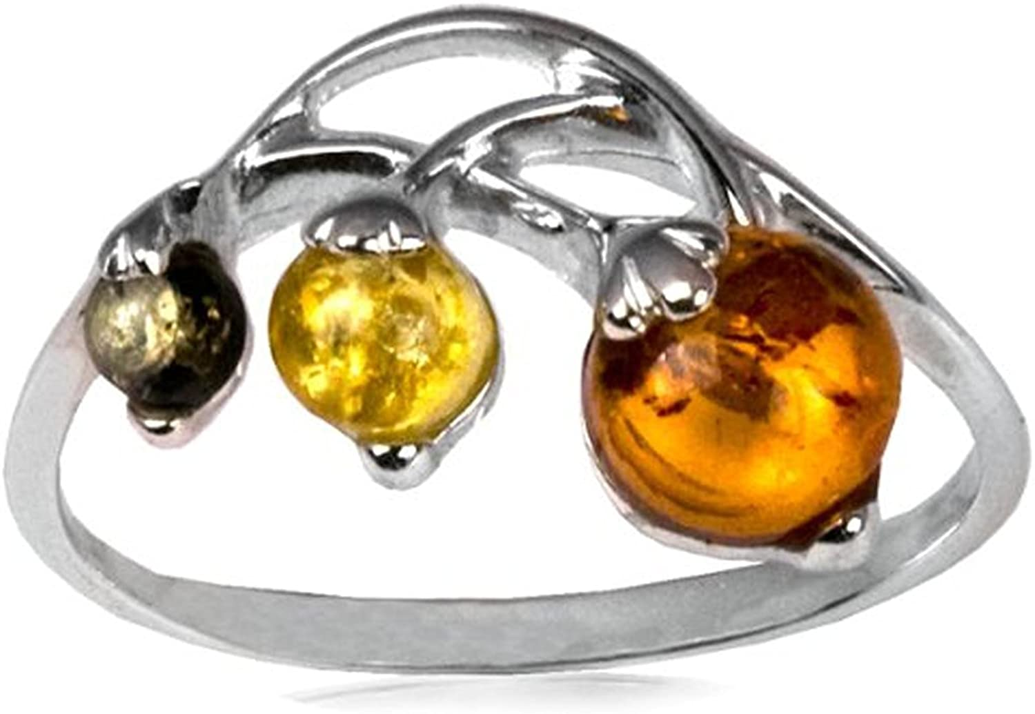 Sterling Silver Multicolor Amber Branch of Berries Ring
