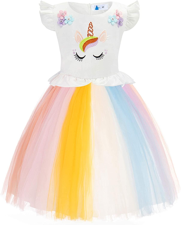 FUNNA Flower Girls Unicorn Costume Princess Dress Tutu for Pageant Party Rainbow