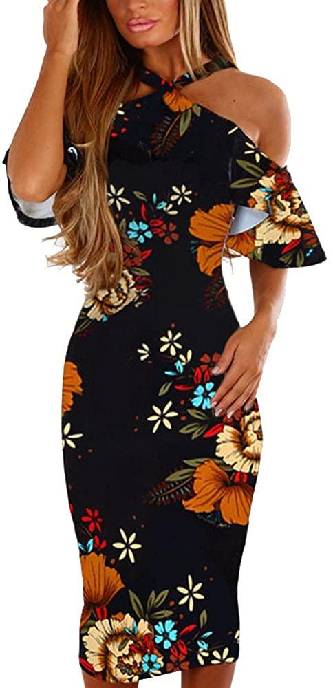 Keepmove Floral Dresses for Women Casual Print Sleeveless Backless Dress Princess Dress