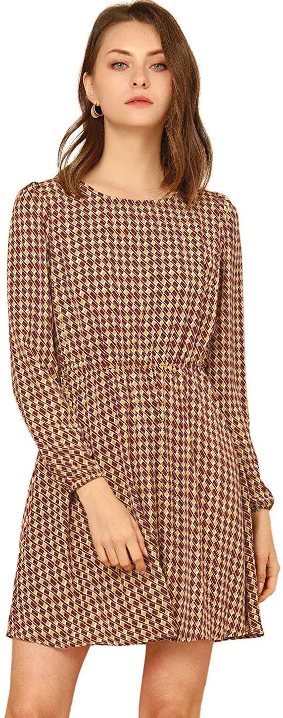 Allegra K Women's Plaid Vintage Elastic Waist Crewneck Puff Sleeve Button A-line Dress