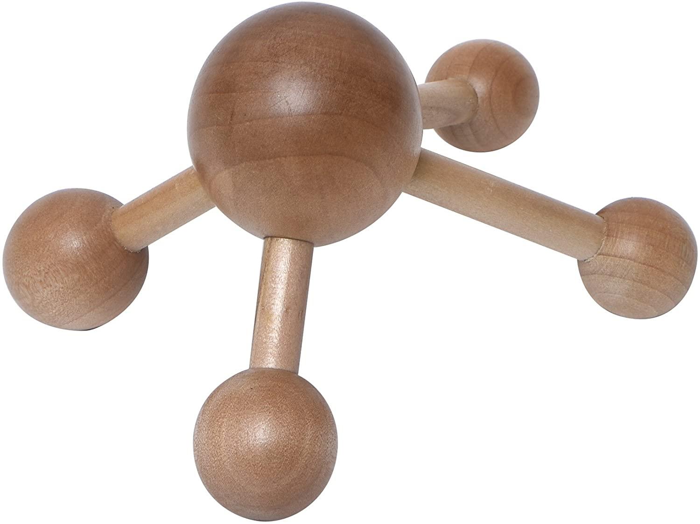 EVIDECO 75530104 Spa Wellness Wooden Body Handheld Massage Hand, Beige
