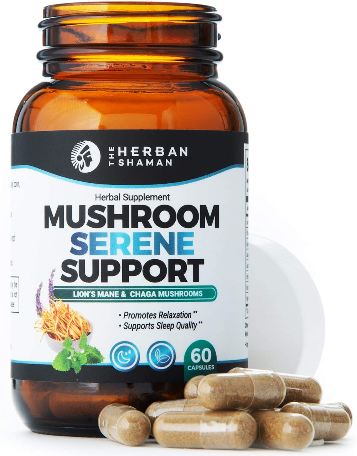 The Herban Shaman Mushroom Supplement Serene Support | Organic Mushroom Herbal Supplement | Lions Mane, Kava Root, Lavender & Passion Flower, Mucuna Pruriens, Chaga, Cereus (60 Capsules)