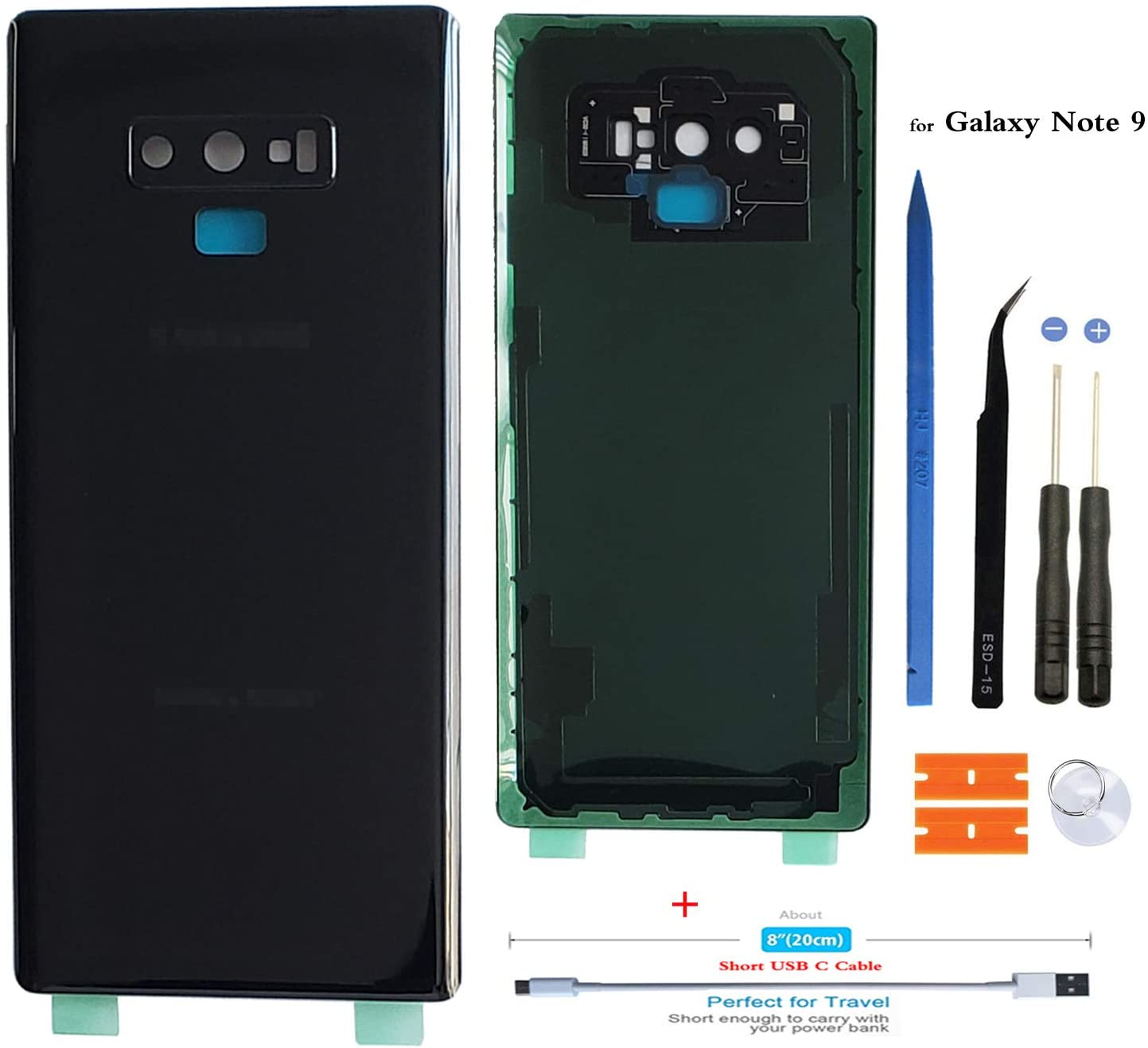 Slimall Battery Back Glass Rear Cover Housing Door Replacement for Samsung Galaxy Note 9 N960 with Camera Lens/Adhensive, Frame Tape + Short USB c Charging Cable (Midnight Black)