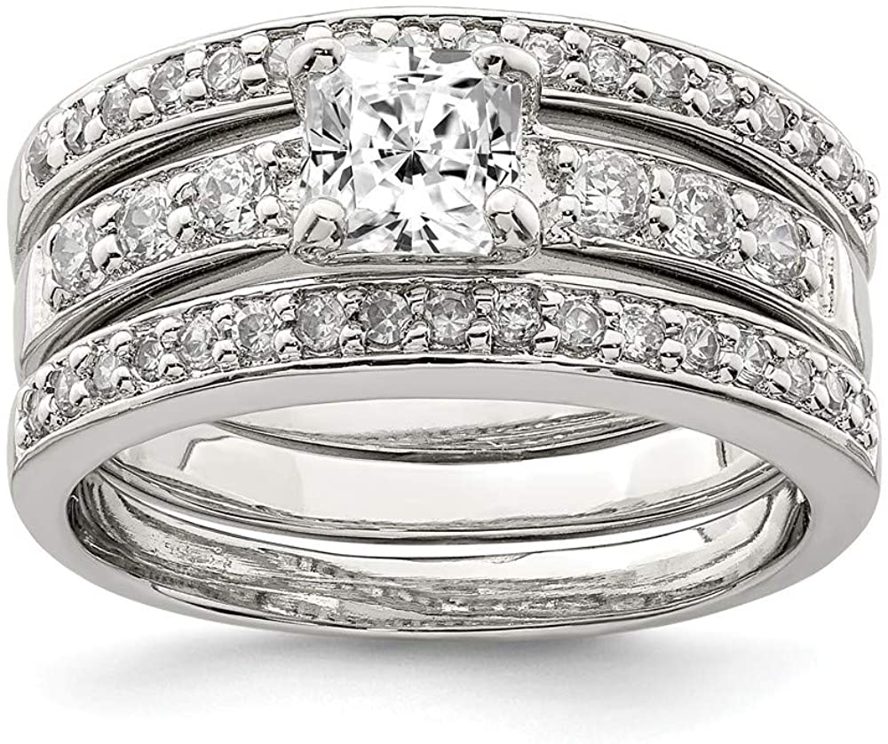 925 Sterling Silver Cubic Zirconia Cz 3 Piece Wedding Set Band Ring Engagement Fine Jewelry For Women Gifts For Her