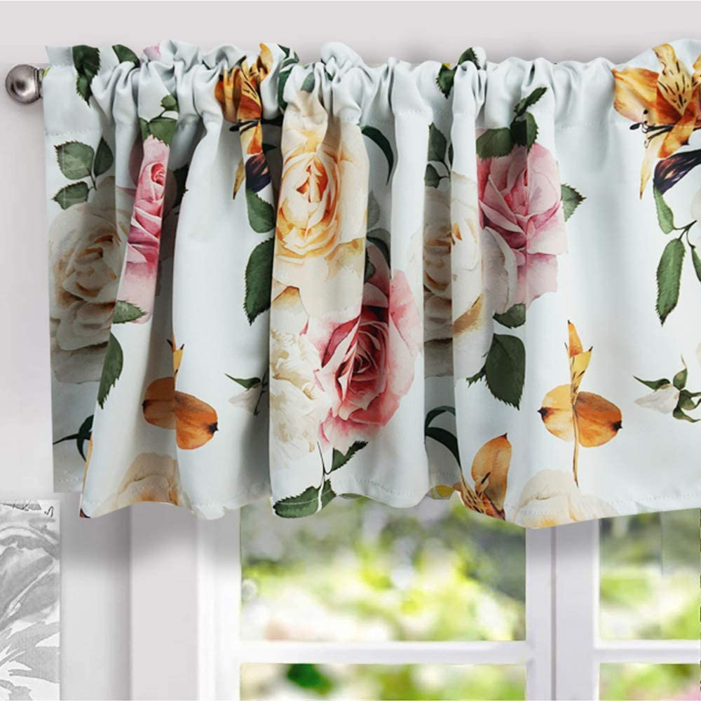 YoKII Floral Valances for Windows 18''L Room Darkening Shabby Chic Boho Valance Curtains Blackout Window Treatments for Kitchen Bedroom Living Room Decors (W52 x L18, White)