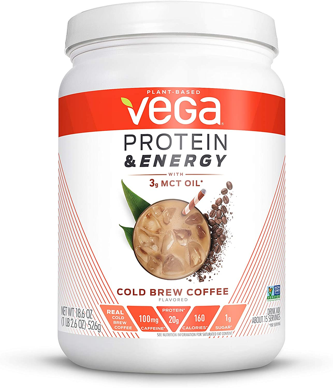 Vega Protein & Energy, Cold Brew Coffee, Plant Based Coffee Protein Powder - Vegan Protein Powder, Keto-Friendly, MCT Oil, Gluten Free, Dairy Free, Soy Free, Non GMO (15 Servings, 1lb 2.6oz)