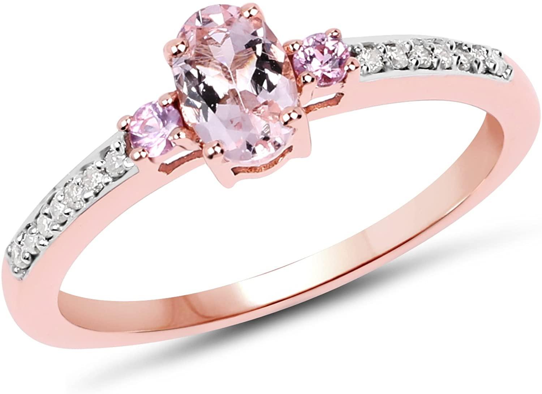 0.60 Carat Genuine Morganite, Pink Sapphire & White Diamond 10K Rose Gold Ring