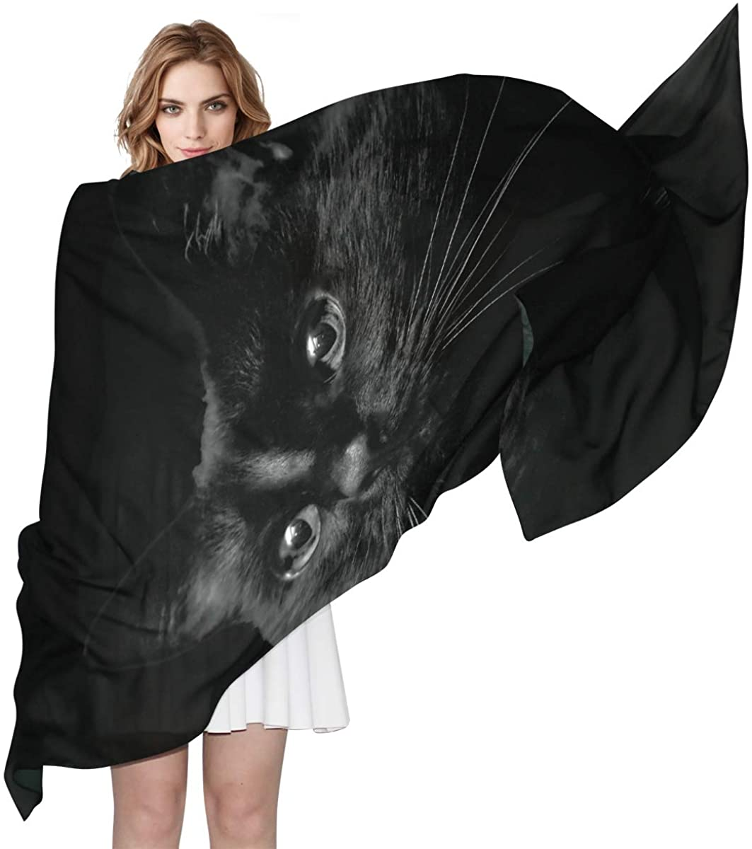 Scarf EELa Long Scrves Women Polyester Lightweight Soft Printed Black Cat Fashion Wrap Shawl Spring Winter 70x35 inches