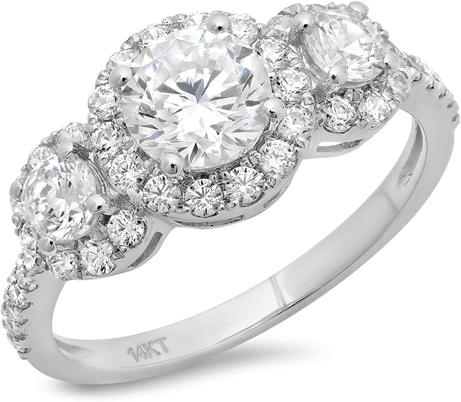 Clara Pucci 1.9 Ct Round Cut Solitaire Engagement Promise Anniversary Pave Halo Bridal Band Ring 14K White Gold