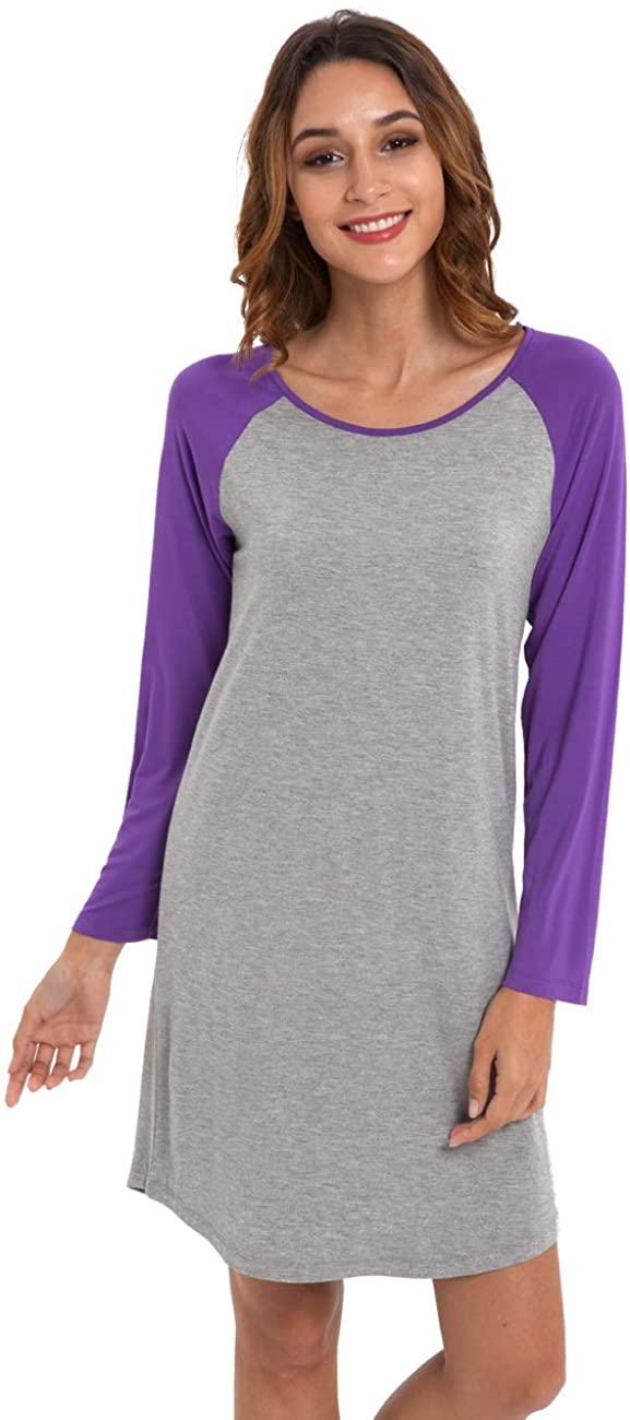 LazyCozy Women's Long Sleeve Bamboo Nightgown