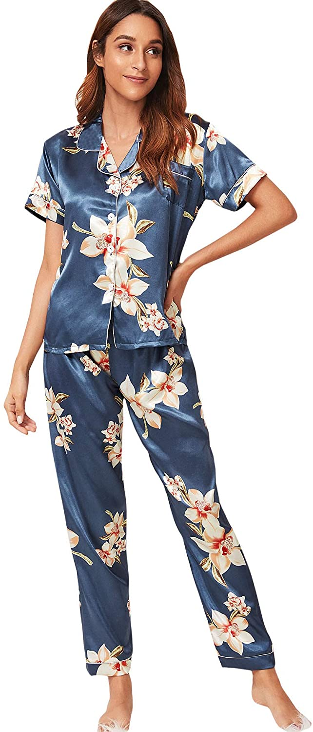 SOLY HUX Women's Sleepwear Floral Print Button Down Shirt and Pants Pajama Sets