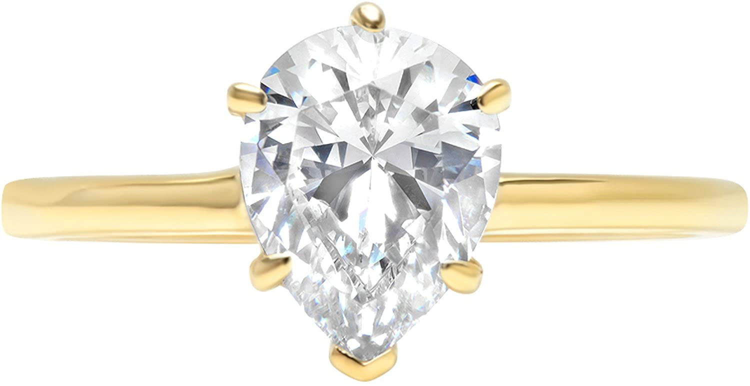 Clara Pucci 1.35ct Pear Brilliant Cut Simulated Diamond Classic Solitaire Designer Statement Ring Solid 14k Yellow Gold for Women