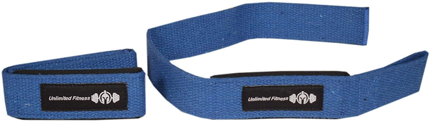 Unlimited Fitness Weightlifting Straps, Blue, Black, Pink | Gym Wrist Wraps, Heavy Deadlifts, Pull-Ups, Chin-Ups, Back Exercise, Grip Movements | Comfortable Wrist Straps for Men & Women