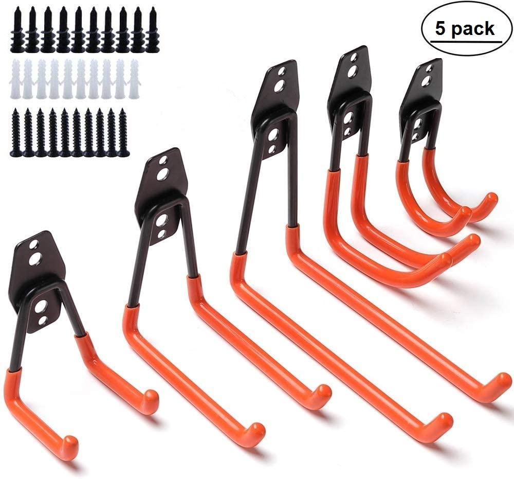 5pcs Garage Storage Utility Double Hooks, Wall Mounted Garage Hanger & Organizer with Anti-slip Coating for Hanging Ladder Weed Eater Extension Cord Shovel Hose Garden Tool and Power Tools (orange)