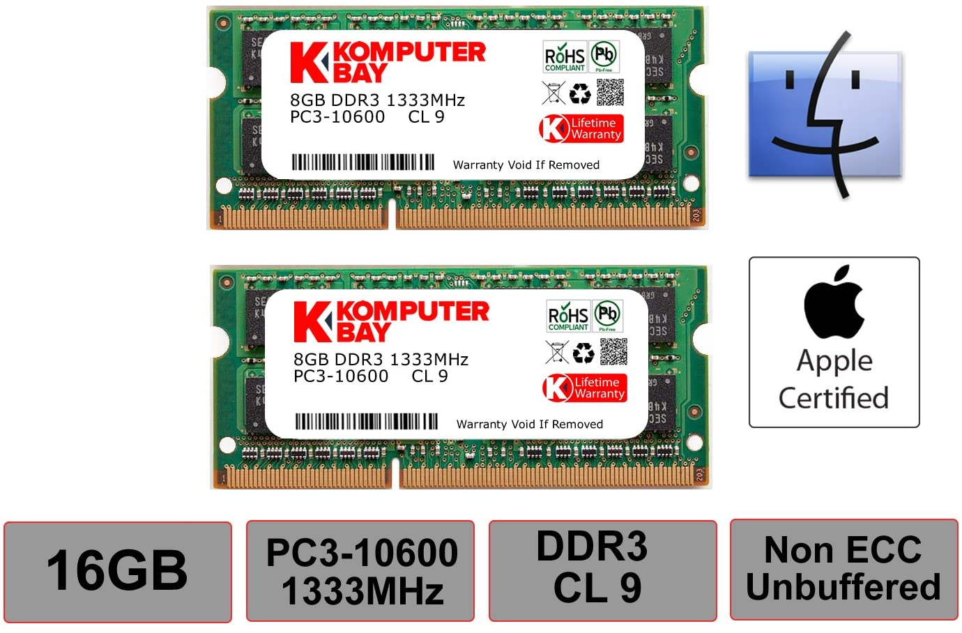 Komputerbay 16GB Dual Channel Kit 2X 8GB 204pin DDR3-1866 SO-DIMM 1866/14900S (1866MHz, CL13) for Apple iMac 275K (Late 2015) 1867MHz