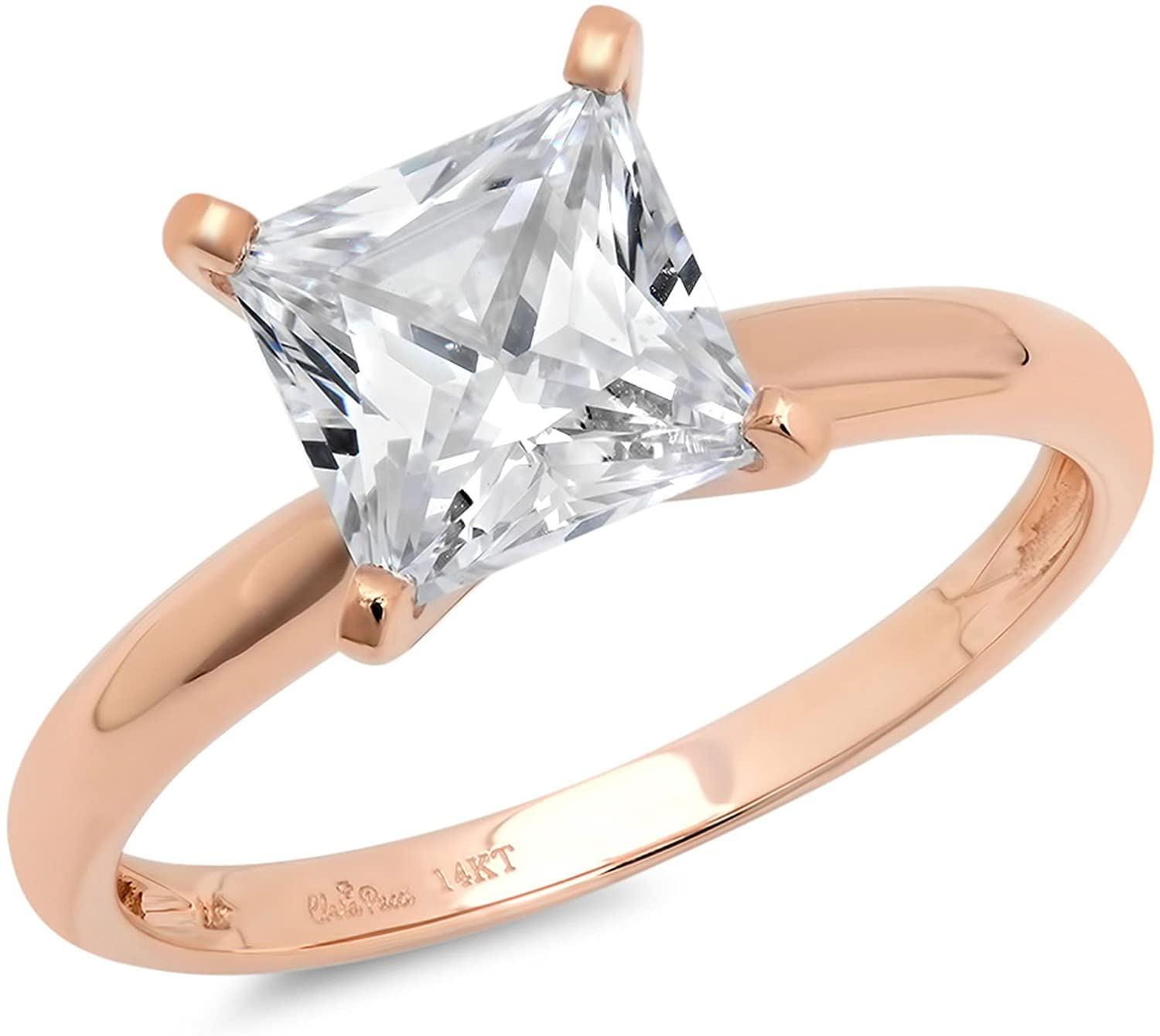 Clara Pucci 2.0 CT Princess Brilliant Cut Simulated Diamond CZ Solitaire Engagement Wedding Ring Solid 14k Rose Gold