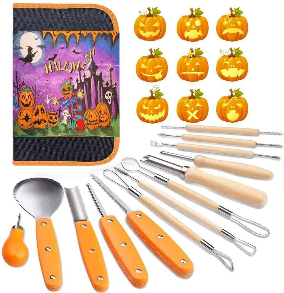POWSTRO K 14 Pcs Halloween Pumpkin Carving Kit Tools, Halloween Heavy Duty Stainless Steel Pumpkin Carving Set, Professional Pumpkin Cutting Supplies Tools Kit