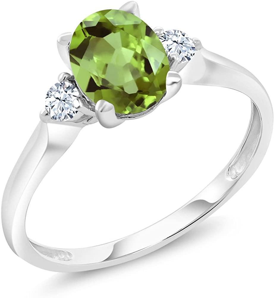 Gem Stone King 10K White Gold Green Peridot and White Created Sapphire 3-Stone Women's Ring 1.43 Ct (Available 5,6,7,8,9)