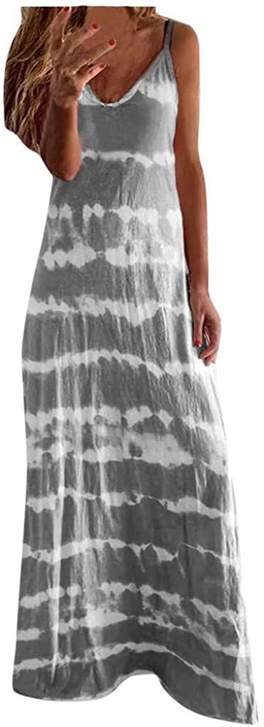 Summer Dresses for Women Casual,Women Casual Loose Bohemian Long Dress Tie Dye Spaghetti Strap Maxi Summer Beach