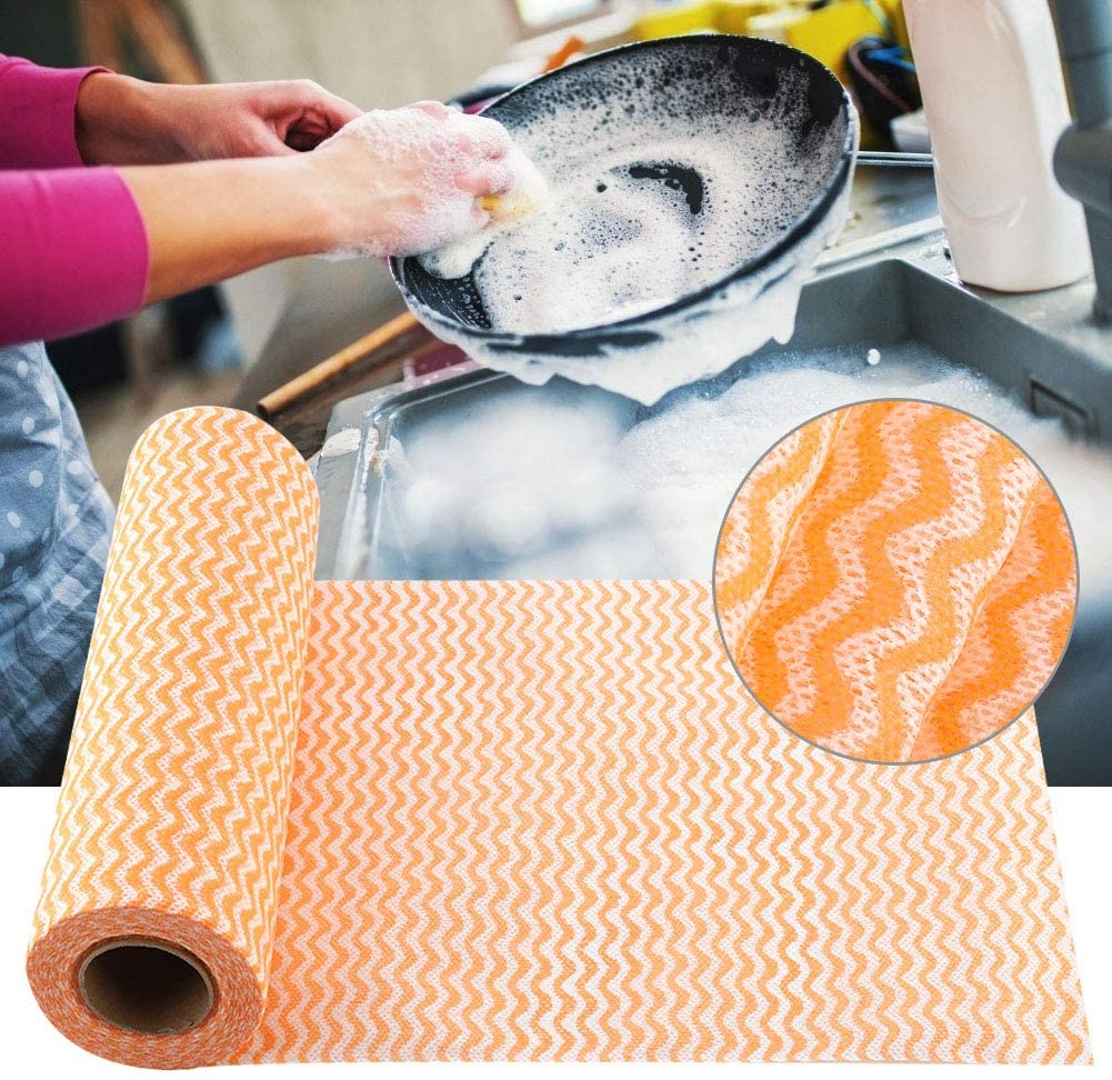 Eurobuy Disposable Cleaning Towel, 50Pcs Disposable Non-Stick Oil Non-Woven Duster Dish Cloth Hand Towel for House Kitchen, Absorbent Dry Quickly