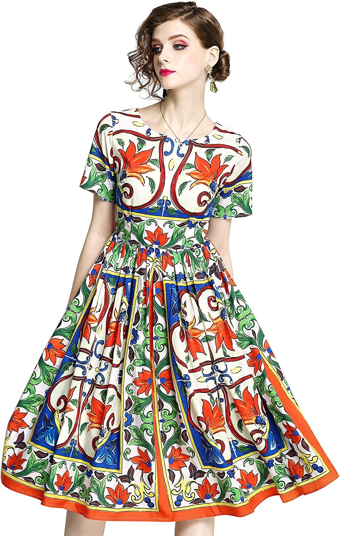 LAI MENG FIVE CATS Women's Sleeveless Floral Printed Sundress Casual Dress