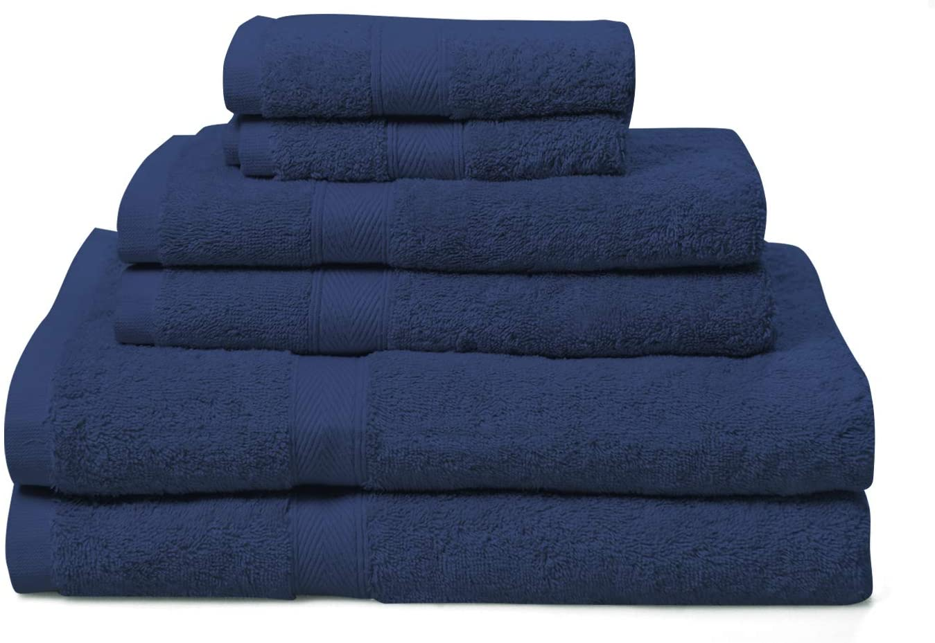 PHRIXUS 100% Ring-Spun Cotton Towel Sets, Hotel & Spa Quality, Highly Absorbent, Soft, Quick Dry, 600 GSM Luxury 6 Piece Set - 2 Bath Towels, 2 Hand Towels, 2 Washcloths for Bathroom, Shower, Blue