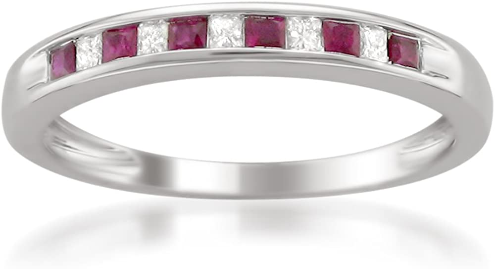 14k White Gold Princess-cut Diamond and Red Ruby Wedding Band Ring (1/3 cttw, H-I, I1-I2)