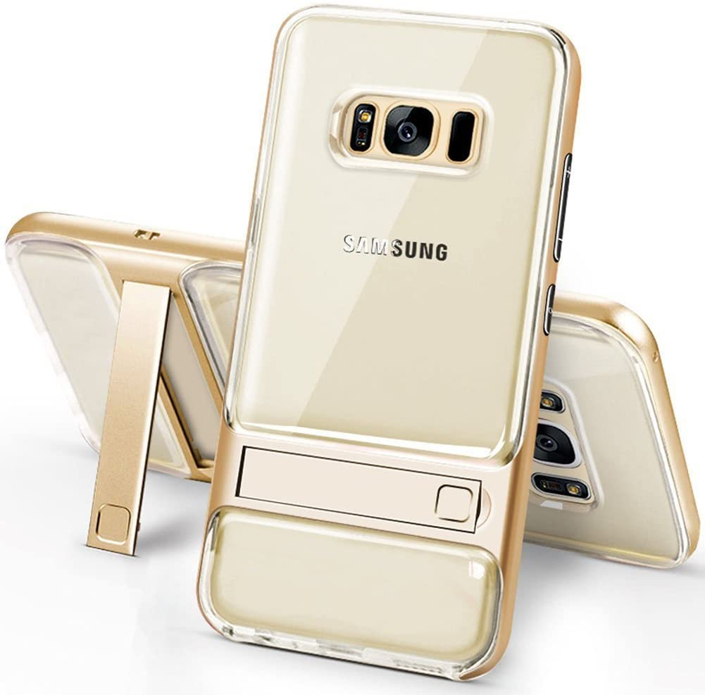 Galaxy S8 Case with Kickstand,PHEZEN Shock Absorption Anti-Scratch Hybrid Clear Protective Case Cover with Transparent Hard PC Back and TPU Bumper Case for Samsung Galaxy S8 (Gold)