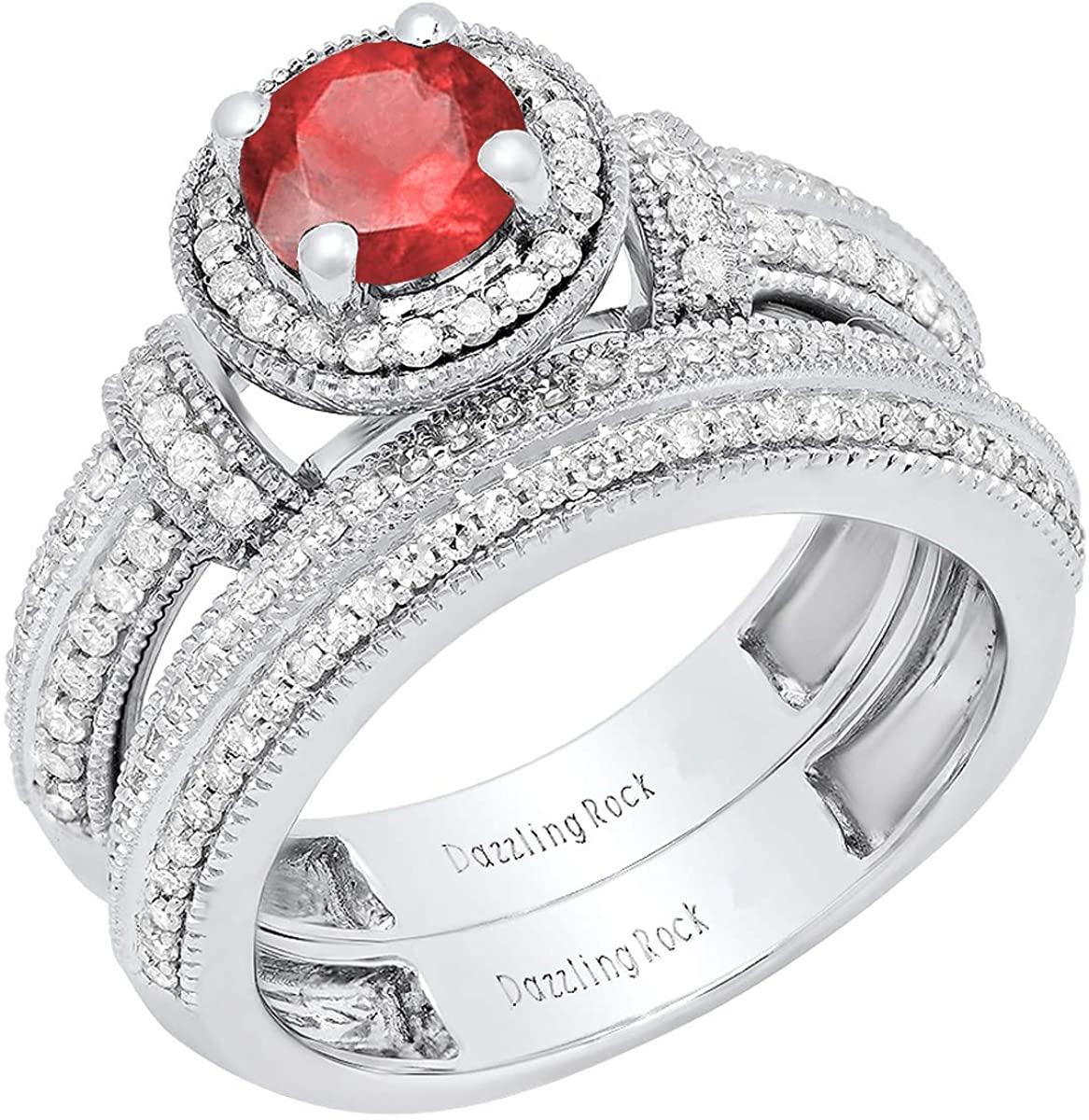 Dazzlingrock Collection 14K 6 MM Round Gemstone & White Diamond Ladies Engagement Bridal Band Ring Set, White Gold