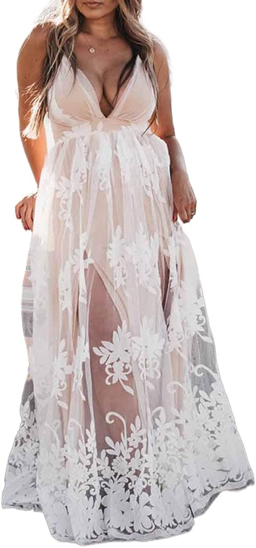 CORAFRITZ Women's Bride Lace Wedding Dress V Neck Embroidered Spaghetti Strap Bride Gowns Layer Dress