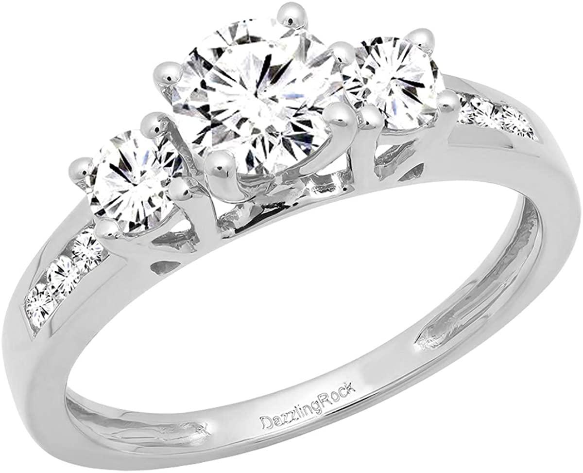 Dazzlingrock Collection 1.15 Carat (ctw) 14K Gold Round White Diamond Ladies Bridal 3 Stone Engagement Ring