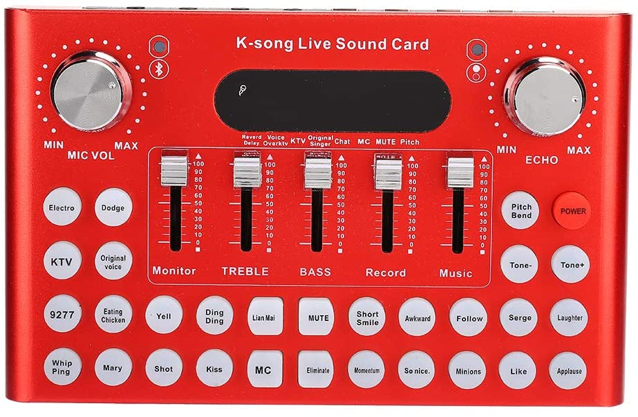 4.1 Live Sound Card,Sound Mixer Board Portable Audio Mixer Voice Changer Smart Noise Reduction Support Mobile Phone Tablet Computer Laptop,Volume Adjustable For Music Recording Karaoke Singing
