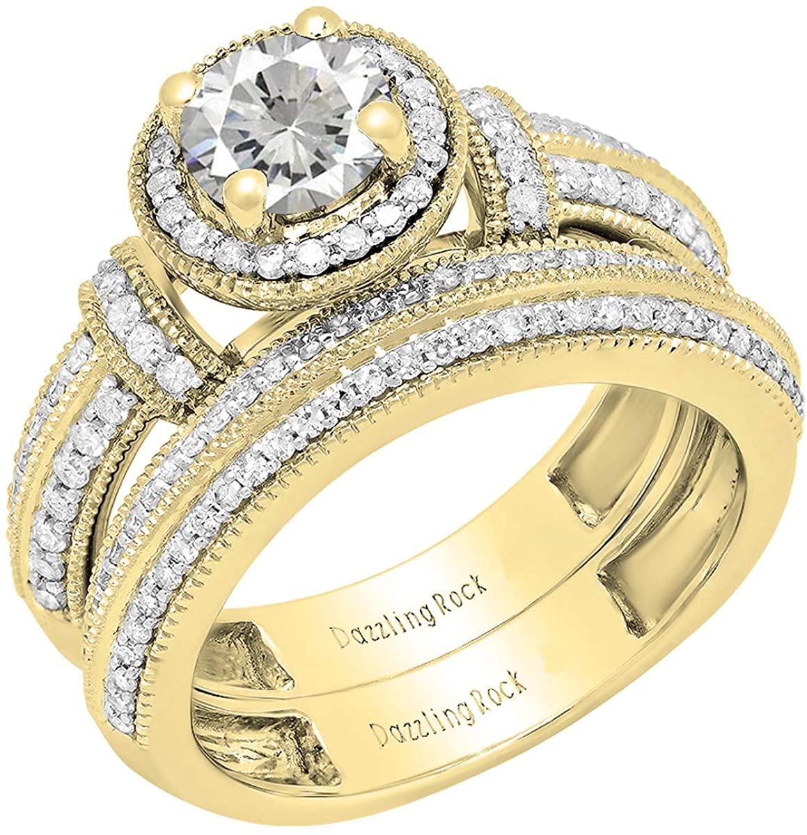 Dazzlingrock Collection 14K 6 MM Round Lab Created Gemstone & Diamond Ladies Engagement Bridal Band Ring Set, Yellow Gold