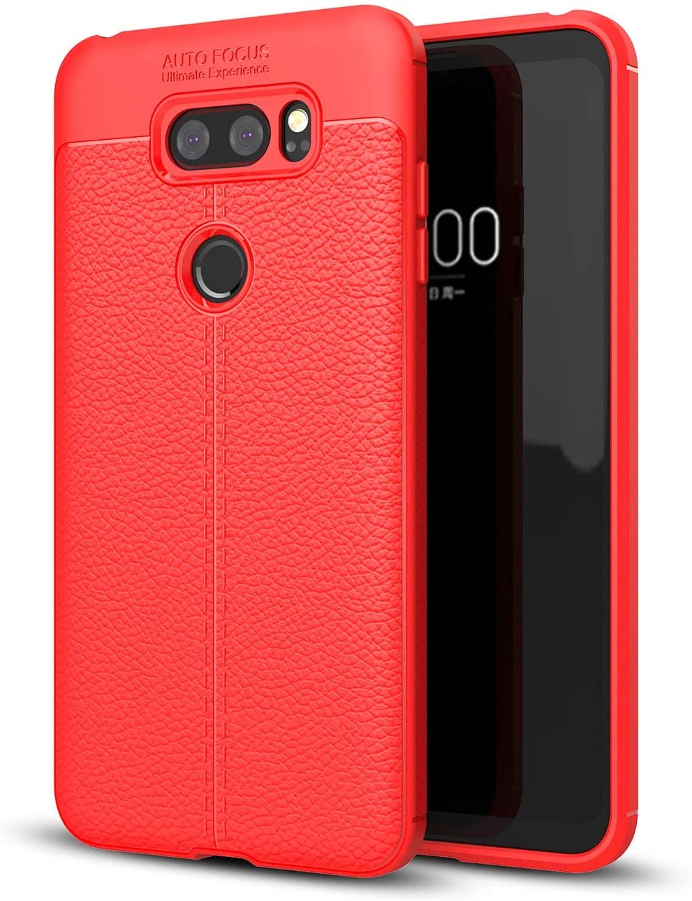 ZYZX LG V30 Case,LG V30 Plus Case Shock Absorption LG V30 Phone Case Slim TPU Cover Flexible Bumper Carbon Fiber Protective LG V30 / LG V30 Plus Case-Red