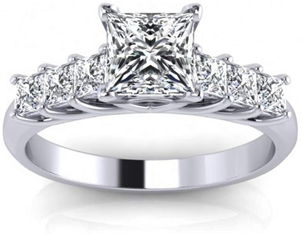 Blocaci 1-1/4 Carat (ctw) 7 Stone Princess-Cut Moissanite Engagement Rings for Women 10K 14K 18K Solid Gold Name Engraving